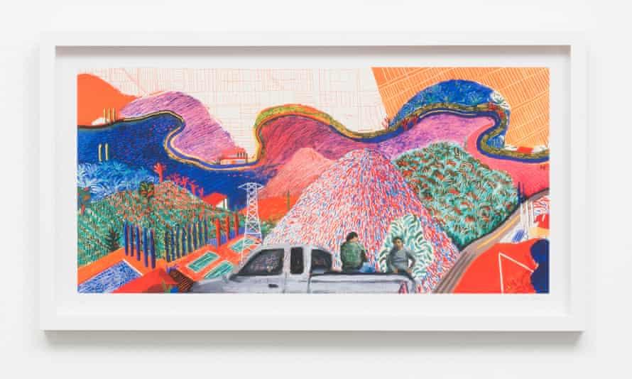 Mulholland Drive: On the Road to David's Studio (after David Hockney's Mulholland Drive: The Road to the Studio, 1980), by Ramiro Gomez.