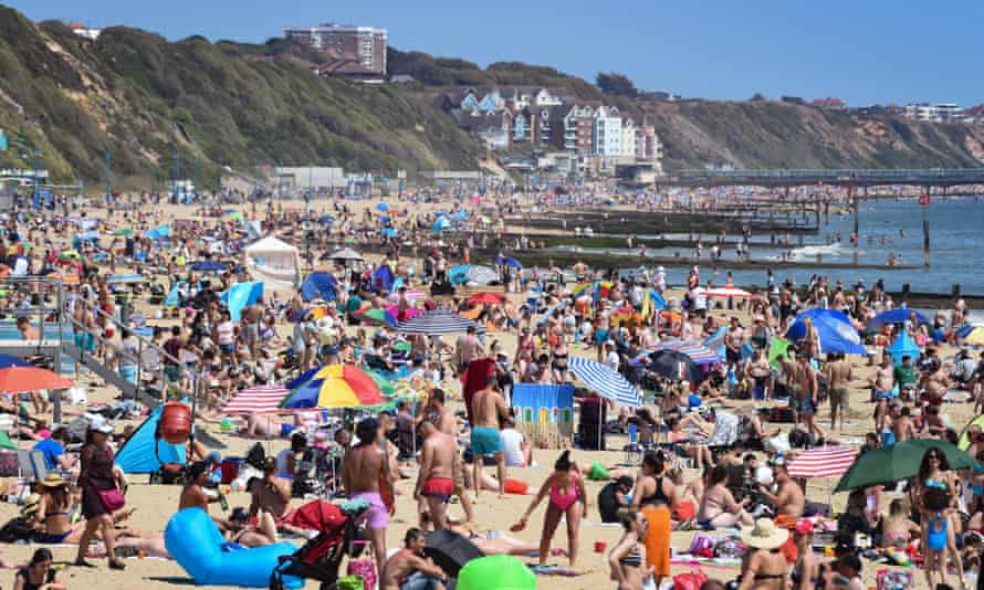 Bournemouth beach on a bank holiday, May 2020