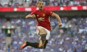 Zlatan Ibrahimovic celebrates after scoring the winning goal for Manchester United.