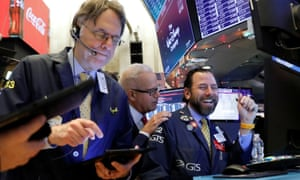 Traders on the floor at the New York Stock Exchange (NYSE) in New York.