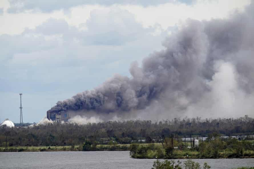 A fire at a chemical plant, BioLab Inc, that handles chlorine for swimming pools burns on Thursday in Westlake, Louisiana.