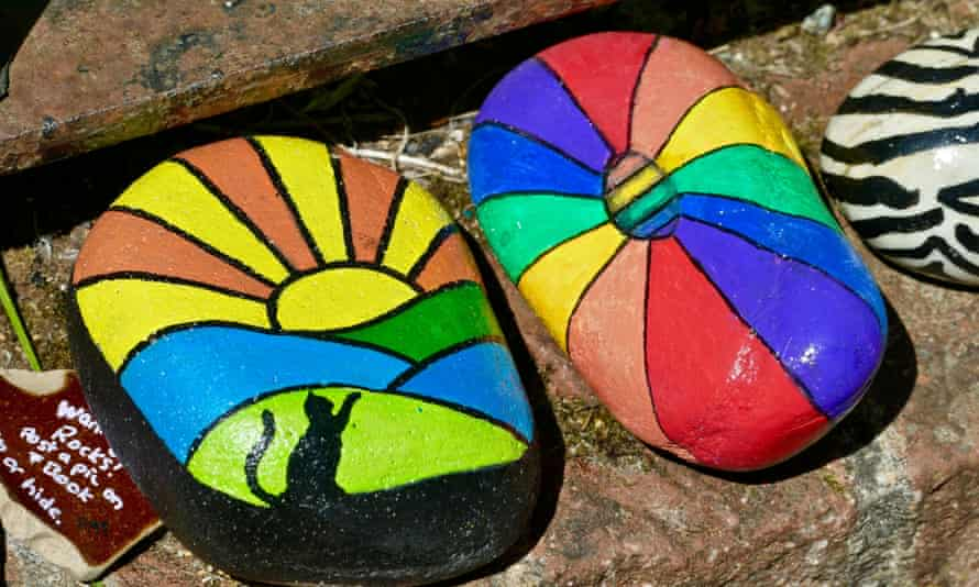 Painted stones in a rock snake, Wantage, Oxfordshire.