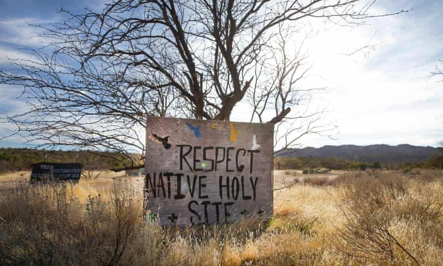 Signs posted at Oak Flat protest the possibility of the federal government clearing the way for a copper mine. Oak Flat sits atop one of the largest untapped copper deposits in the world, estimated to be worth more than $1bn.