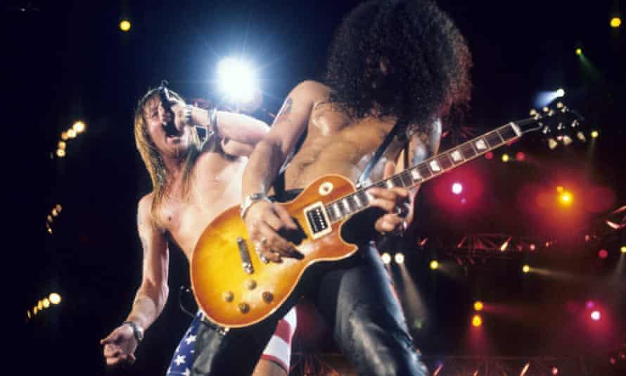 Axl Rose and Slash of Guns N' Roses in Brazil in 1991.
