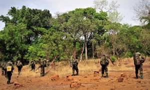 Ugandan soldiers on patrol during an operation to find Jospeh Kony, leader of the Lord's Resistance Army