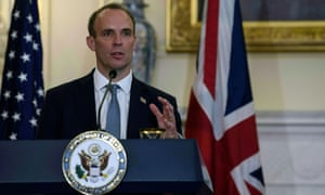 Dominic Raab speaking at a news conference with the US secretary of state, Mike Pompeo, on Wednesday.