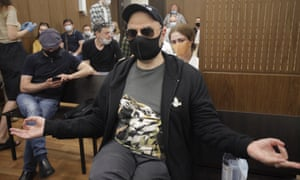Kirill Serebrennikov sitting in court in Moscow before the verdict was delivered.