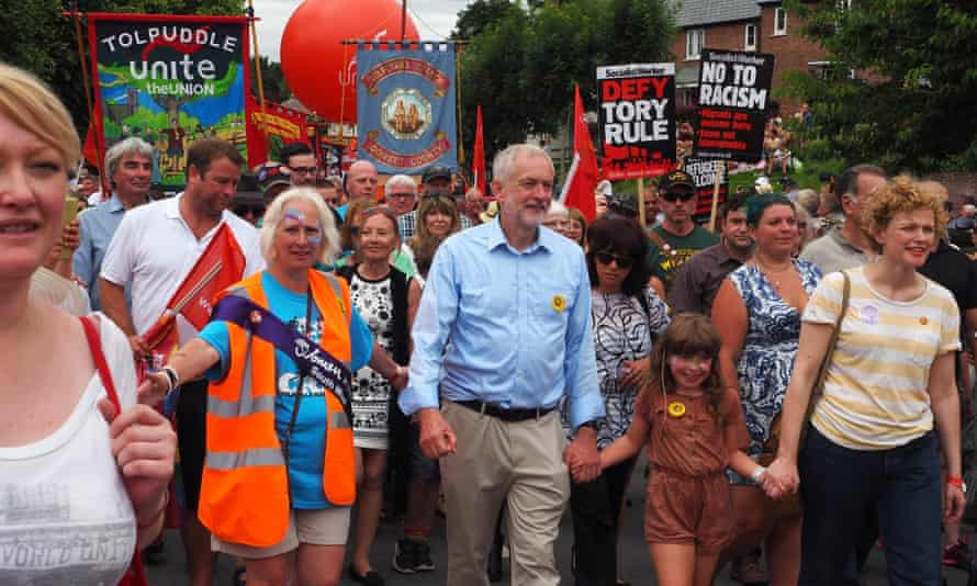 Jeremy Corbyn marches in the Tolpuddle Martyr's Rally in Dorset.