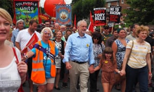 Jeremy Corbyn attending a rally in Tolpuddle in 2016