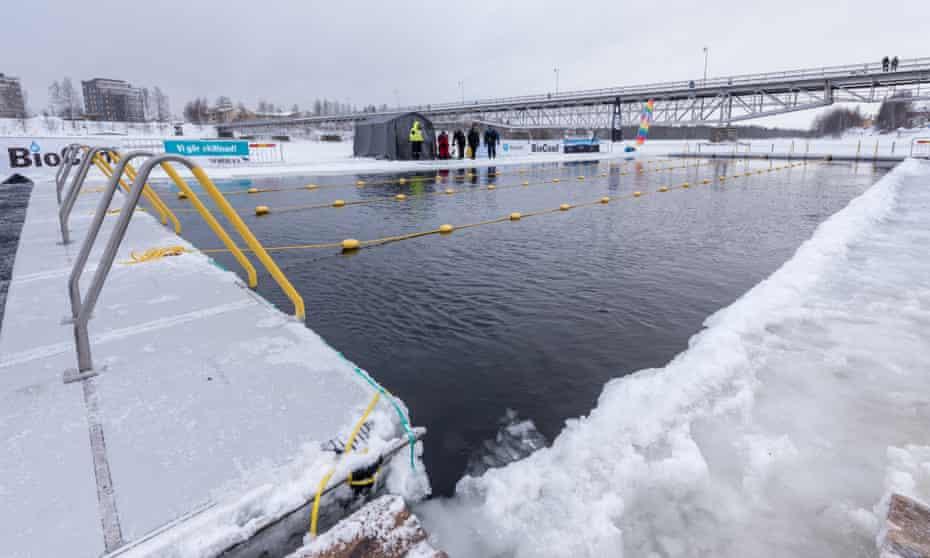 Ice pool in winter, in Skellefteå, Sweden.