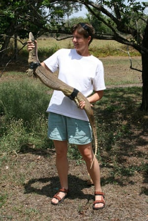 Beata Ujvari holds a goanna that has been restrained with tape.