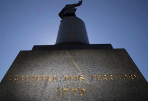 The controversial inscription on the Captain James Cook statue
