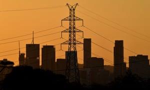 High voltage electricity transmission tower in Brisbane