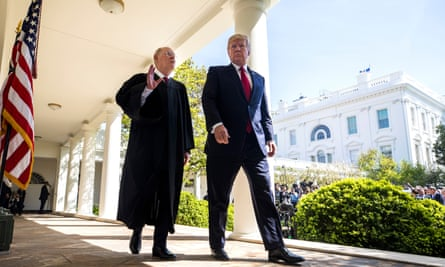 President Trump with justice Anthony Kennedy, who is retiring from the supreme court