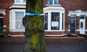 Blue ribbons tied to the trees to mark the highest flood mark in Warwick Avenue in Carlisle.