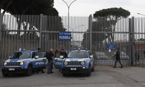Police officers outside the Rebibbia prison in Rome