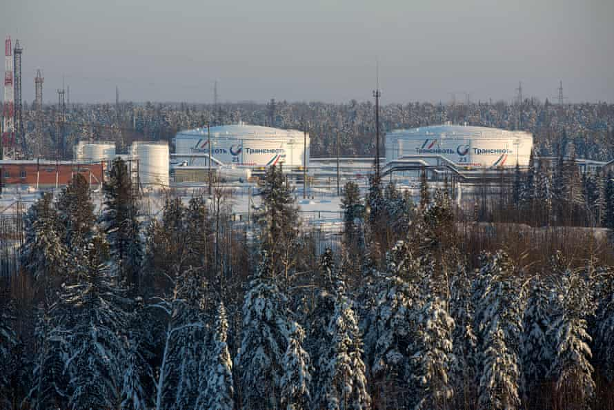 Oil storage tanks operated by Transneft, the oil pipeline monopoly, stand at the Yuzhny Balyk plant in Sentyabrsky, Russia, 2014.
