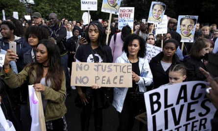 A black lives matter peaceful protest at Alexandra Park in Moss Side, Manchester.