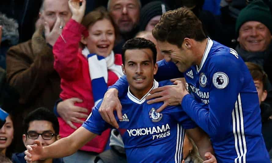 Chelsea's Pedro celebrates his first-half goal with team-mate Marcos Alonso