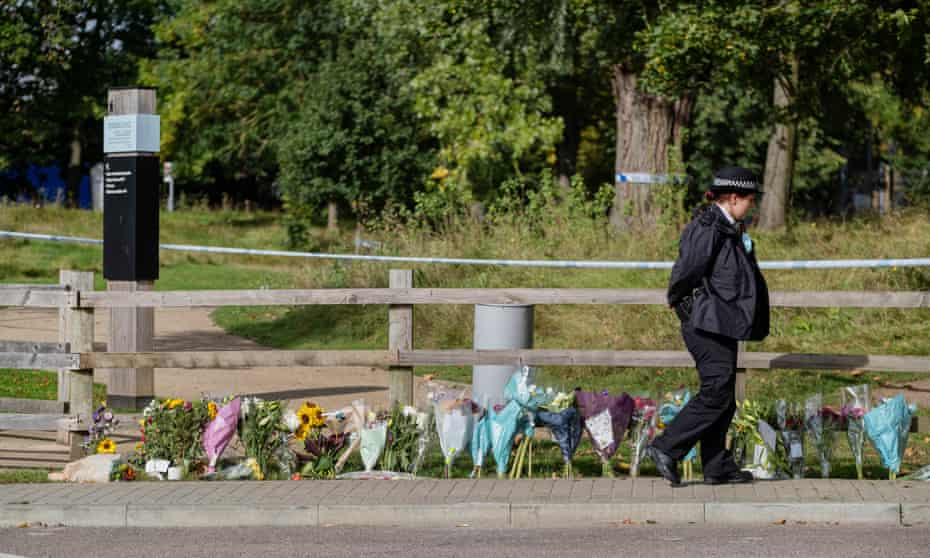Floral tributes left for Sabina Nessa at Cator Park, south-east London.