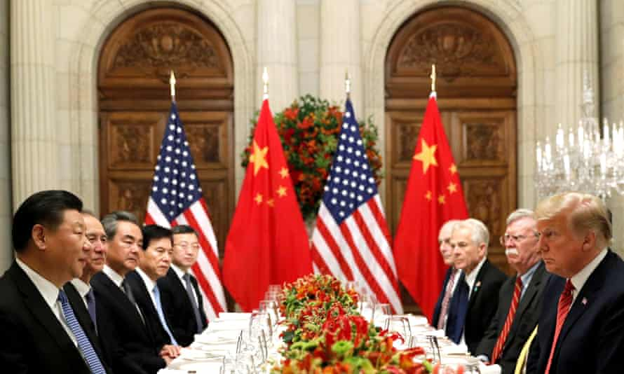 Trump and Xi meet with their officials in Buenos Aires.