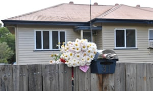 Flowers placed outside a house in Stafford in Brisbane where two teenage boys were discovered living in squalid conditions