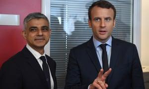 Sadiq Khan, the mayor of London, meets Emmanuel Macron in Paris on 29 March.
