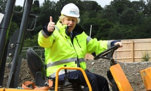 Boris Johnson during a visit to the Speller Metcalfe's building site at the Dudley Institute of Technology today.