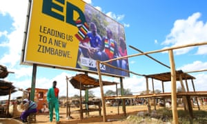 A campaign billboard for Zimbabwe's president Emmerson Mnangagwa east of Harare, July 2018.