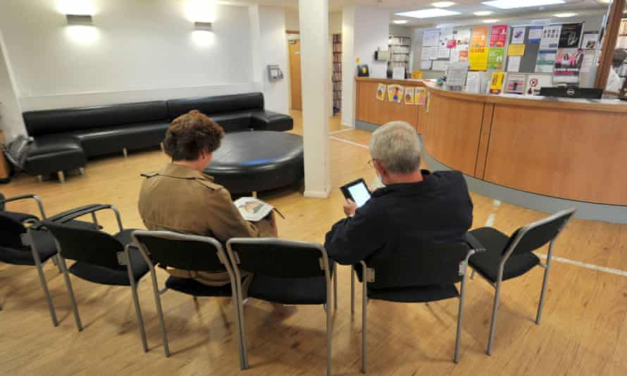Patients in the waiting room of a GPs' surgery