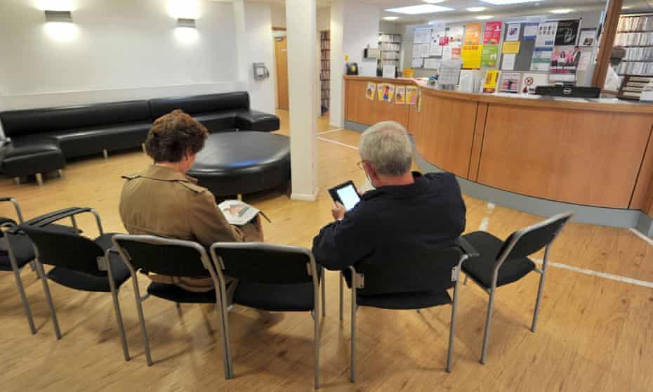 Patients wait at a GP surgery