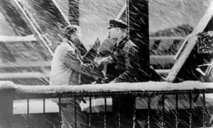 James Stewart and Ward Bond battle the blizzard in It's a Wonderful Life (1946).