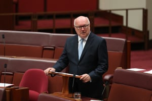 Senator George Brandis gives his valedictory speech in the Senate chamber of Parliament House