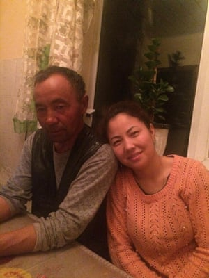 Bota Kussaiyn with her father, Sagymubai, who was sent to a re-education camp in December.