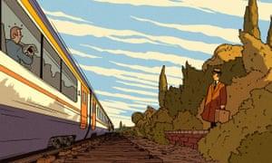 Illustration by R Fresson of a train speeding along a track.