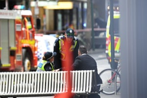 Emergency works are seen on Swanston street in Melbourne's CBD.