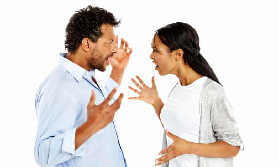 Couple having a relationship conflictImage of African couple arguing over something against white background