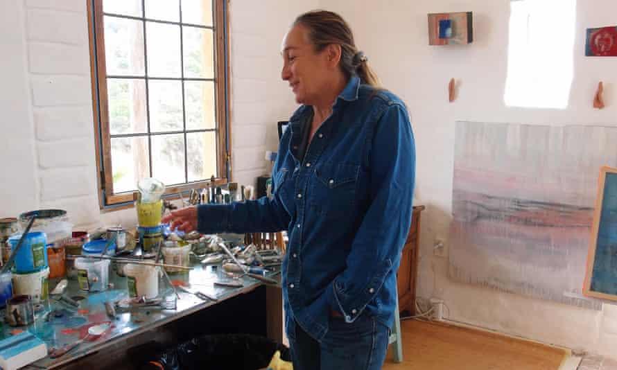 Artist Gabriella Lewenz in her studio at Church Bay, Waiheke Island, New Zealand, in February 2015.