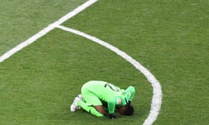 Saudi Arabia's goalkeeper Mohammed Al-Owais reacts after the final whistle.