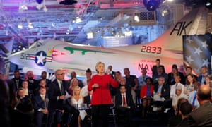 Hillary Clinton addresses the Commander-in-Chief Forum held on board the decommissioned aircraft carrier Intrepid in New York.