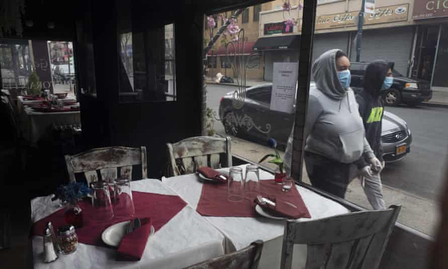 San Gennaro restaurant is closed but the tables are set in the Bronx borough of New York on 17 April 2020.