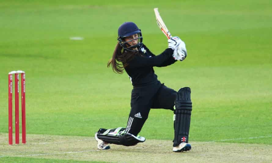 Capsey hits out while playing for Surrey women against Middlesex at the Oval last summer aged 15.