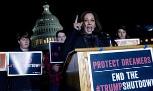 Democrat senator Kamala Harris speaks during a rally in support of Dreamers in Washington.