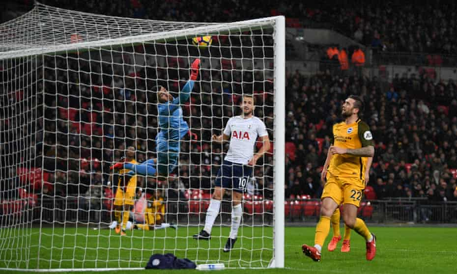 The Brighton goalkeeper Mathew Ryan dives but can't stop Serge Aurier's intended cross, which ended up in the back of the net.