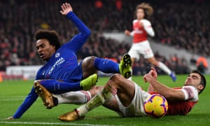 Chelsea's Willian is thwarted by Arsenal defender Sead Kolasinac.