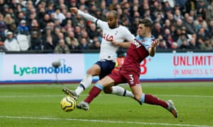 Tottenham Hotspur's Lucas Moura beats West Ham's Aaron Cresswell to the ball to score their second goal.