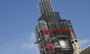 Scaffolding surrounds the Queen Elizabeth Tower, which holds the bell known as Big Ben.