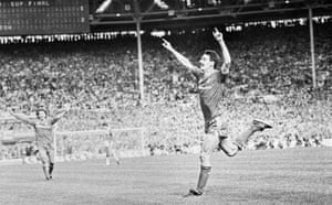 Liverpool forward Ian Rush celebrates after scoring their third goal in the all Merseyside FA Cup Final in May 1986.