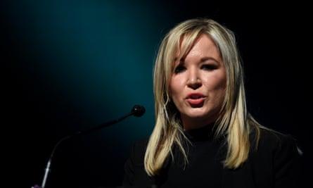Sinn Féin's Michelle O'Neill speaks at a party conference on Irish unity in Dublin.