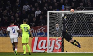 A strong wrist from Barcelona's goalkeeper Marc-Andre Ter Stegen ensures that the shot from Lyon's forward-looking Martin Terrier ends up in the stands and not the back of the net.